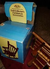 """Vintage Solid Wood Doll/ Bear Rocking Chair Doll Display 12 1/2"""" Tall in box"""