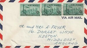 1957 USA cover sent from San Antonio TX to Heston,Middlesex UK