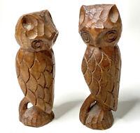 Vintage Hand Carved Wooden Owl Figures Set Of 2 Folk Art Sculpture Shelf Decor