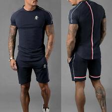Gym King 2PCS Men's Short Sleeve T-Shirt Shorts Set Bottoms Casual Tracksuit