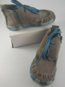 Livie & Luca Size 10 Kids Shoes Boots Short Gray Suede Childrens Chukka Zipper
