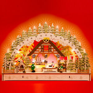 SIKORA LB69 Wooden 3D Christmas Arch LED Battery-Operated Decoration Xmas Bakery