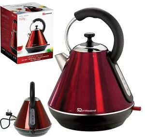 Ruby Red Electric Kettle 1.8L LED Cordless Rapid Boil Lime Scale Filter 2200W