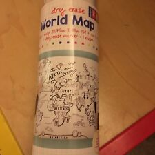 "Big World Map Poster Dry Erase Black & White Coloring Map 20.75"" x 39"" Grades 1+"