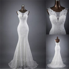 White Ivory Vintage Lace Mermaid Wedding Dress Bridal Gown under $100