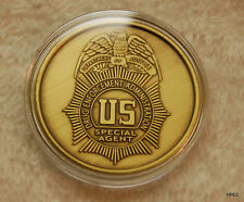 US DEA 1.5 inch Gold Badge Challenge Coin  Police CIA FBI Secret Service USMS