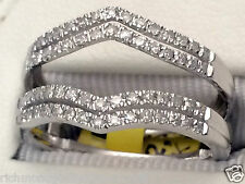 White Gold Solitaire Enhancer Diamonds Ring Double Row Guard Wrap Wedding Band