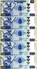LOT, Congo D. R. 5 x 500 Francs, 2002, P-96A, UNC