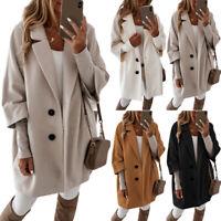 Damen Winter Revers Knopf Tasche Warme Pullover Strickjacke Jacken Lang Mäntel