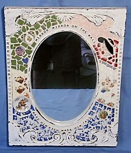 PIQUE ASSIETTE -MIRROR ON THE WALL -MOSAIC TILE-ANTIQUE FRAME-ARTIST SIGNED