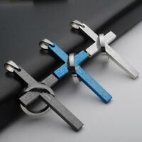 Mens Stainless Steel Polished Bible Lords Prayer Cross Ring Pendant For Chain