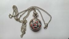 MINI Stainless Steel UNION JACK Watch Necklace Pendent Free Velvet Pouch