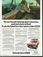 1974 TRIUMPH DOLOMITE Sprint advertisement, British Leyland Triumph, British ad