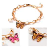 Fashion Butterfly Bracelet Pearl Pemdant Bangle Gold Chain Women Elegant Jewelry