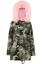 Ladies Baby Pink Faux Fur Hooded Camo Print Long Sleeve Pocket New Parka Jacket