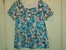 Landau Made Better Women'S Scrubs-Short Sleeve- Sz L-Turquoise Floral-Cotton-Nwo