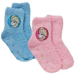 Girls Disney Frozen Fleece Bed Socks Kids Elsa Gripper Slippers Socks Xmas Gift