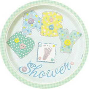 "Baby Shower Party Dessert/Snack Plates 8pk 18cm ""Pastel Baby Stitching"" design"