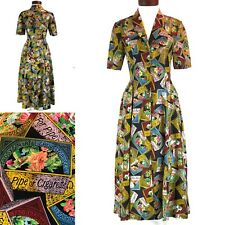 Cigar Tobacco Pipe Print Dress Button Front Wayne Rogers Silk Size 4 Tobacciana