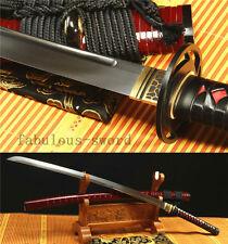 41' 1095 CARBON STEEL  UNOKUBI-ZUKURI BLADE RED JAPANESE SAMURAI SWORD KATANA