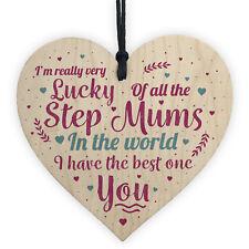 STEP MUM Thank You Gift Wood Heart Mum Mummy Christmas Birthday Son Daughter