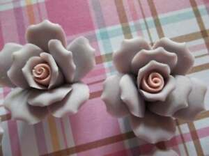 "Large Purple Ceramic Roses Porcelain Flower Cameos Pink Ctr Cabochon 1"" 27mm 4pc"