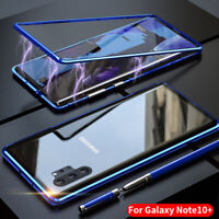 For Samsung Galaxy Note 10 Plus A70 A50 Magnetic Metal Tempered Glass Case Cover