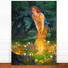 "Edward Robert Hughes, Midsummer's Night Fairy ~ FINE ART CANVAS PRINT 16x12"""