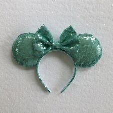 Aqua Blue Sequin Minnie Mouse Ears, Sequin Ears, Mickey Mouse Ears, Sequin Ears