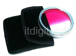 55mm Graduated Pink Color Lens Glass Filter Screw-in Half Pink Half Clear Coated