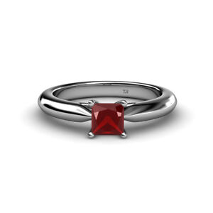 Red Garnet Solitaire Ring 0.95 ct in 14K  Gold JP:81545