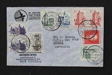 NEDERLAND 1951 Luchtpostbrief naar Australië met kastelen serie en 1 gld Juliana