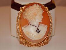Antique Handpainted Cameo Brooch Pin Pendant 14K YG Art Deco .025 ct Diamond