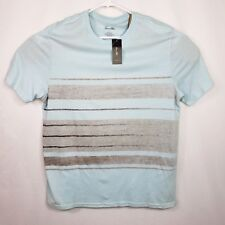 New Tasso Elba Mens Cotton T Shirt Size Large Pale Blue with Brown Stripe Tee