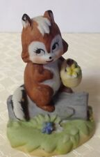 "Lefton Chipmunk Squirrel on Log Figurine 3"" tall #5461"