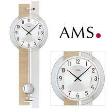 Ams 7441 Wall Clock Quartz with Pendulum Sonoma Look Living Room