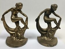 Pair Heavy Art Deco Bookends Nude Lady Dancer W/Scarf Marked 203
