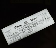 ANTIQUE Magic Lantern Slide THE DAILY MAIL PAPER DATED 1921 PHOTO NEWSPAPER