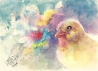 ACEO Bird art Chicken Painting Original Chick Watercolor Listed By Artist USA