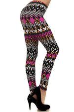 Leggings S-L (2-10) Polyester Spandex NEW MIX Multi Color Fuchsia Tribal Print