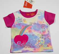 ESPRIT GIRLS 2T NWT SHIRT PINK GLITTERY RAINBOW HOT AIR BALLOON BUTTERFLIES TOP