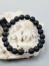 Damen Edelstein Armband Onyx mit Kunststoff versilbert schwarz