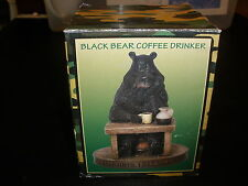 BLACK BEAR COFFEE DRINKER FIGURINE IN THE BOX