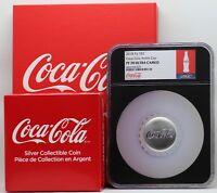 Coca-Cola 2018 Fiji Bottle Cap 1 Oz 999 Silver $2 Coin NGC PF70 Box COA - JY709