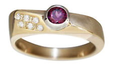 Ring Gold 585 Granat u 6 Brillanten Damen RW 59 Diamantring massiv 14 K Goldring