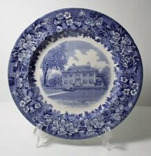 "Wedgwood Blue & White Transfer Longfellow'S House 10-3/8"" Plate"