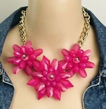 Charming Charlie Gold Tone Deep Pink Fuchsia Flower Statement Necklace