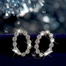 18k yellow white gold gp made with SWAROVSKI crystal stud oval earrings small