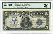 1899 $5 'Indian Chief' Silver Certificate Rare Mule! PMG VF-30 Back Plate #1251
