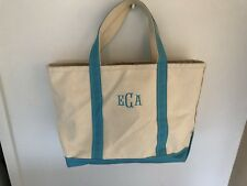 """LL Bean Medium Boat and Tote Canvas Bag Natural w/ Turquoise Trim 17"""" x 11"""""""